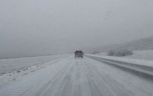 Icy conditions on I-20 in West Texas, New Years Eve 2014 (Alejandra Rangel via CBS 7/KOSA)