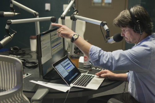 Texas Standard Host David Brown in the studio at KUT-Austin. (KUT)