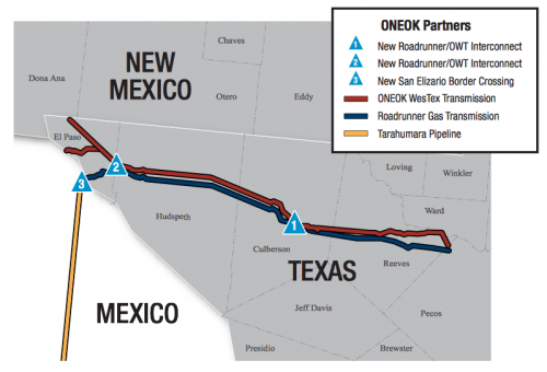 Proposed route for the Roadrunner Gas Transmission pipeline from the Permian Basin to the Texas-Mexico border. (ONEOK Partners)