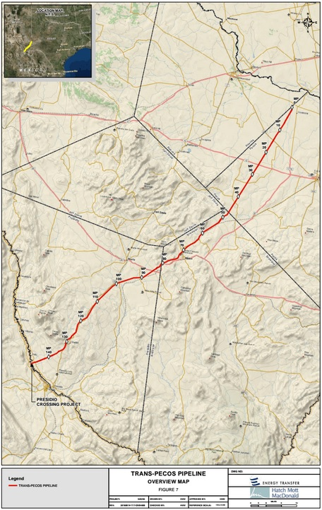 The proposed route for the Trans-Pecos Pipeline (Energy Transfer / FERC)