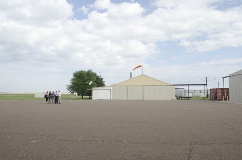 Officials inspect the Marfa Municipal Airport facilities (Graham Dickie/KRTS)