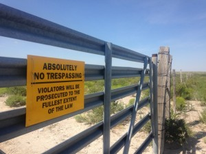 "Spriggs says this ""no trespassing"" sign is directed specifically at pipeline surveyors. Before, he says, he didn't need the sign. (Travis Bubenik / KRTS)"