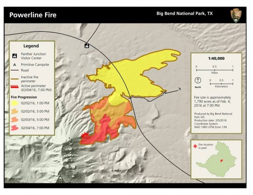 This map shows the progression of the wildfire in Big Bend National Park in recent days. (Big Bend National Park)