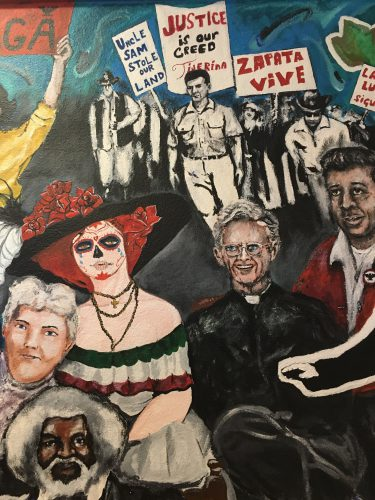 This mural is inside the Texas Civil Right Project's office in El Paso, Texas. The mural recalls notable figures who symbolize the struggle for economic, political and social equality. (Lorne Matalon)