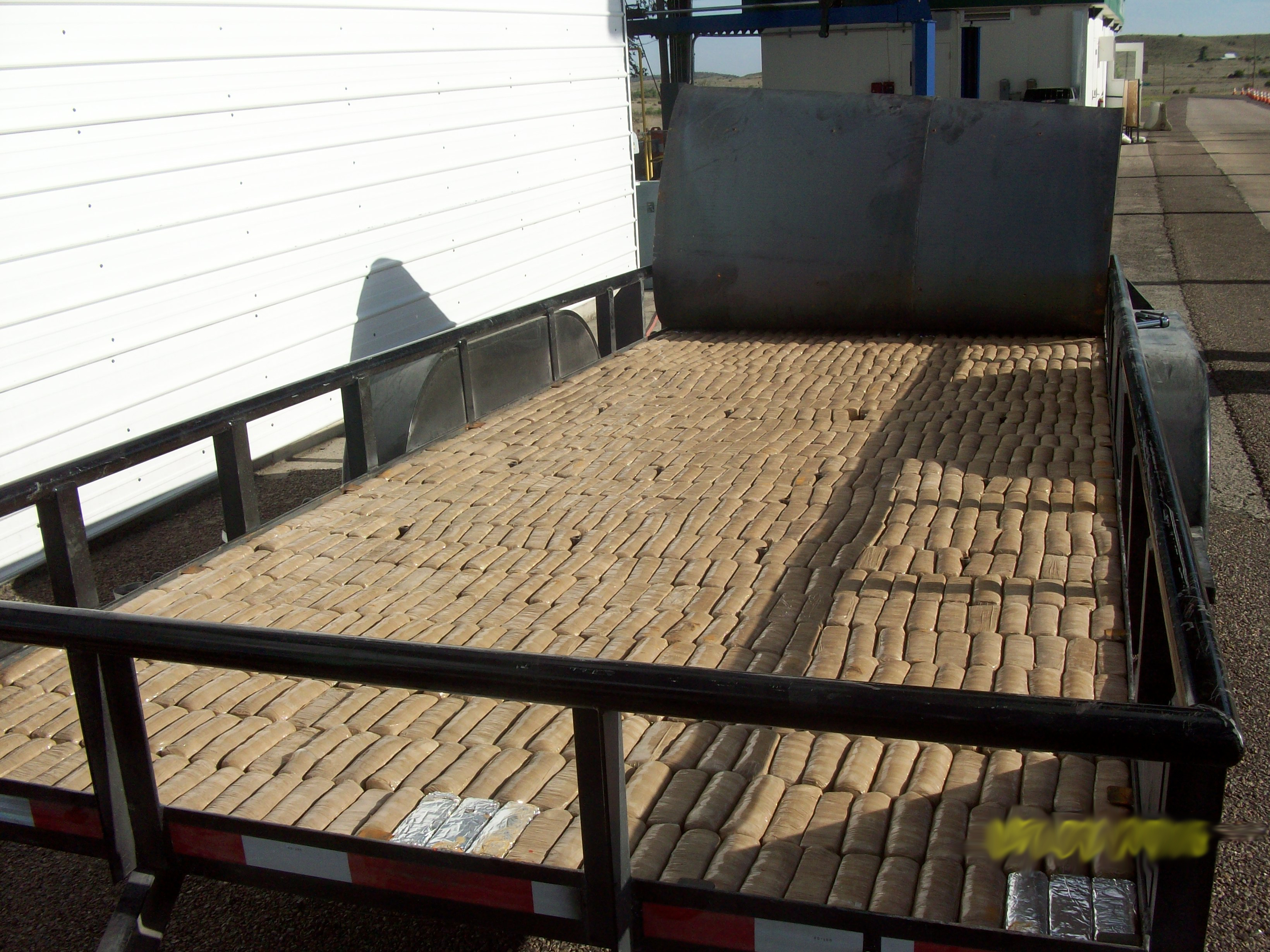 Border Patrol agents found 1,057 bundles of marijuana hidden in a trailer on Monday. (Customs and Border Protection)