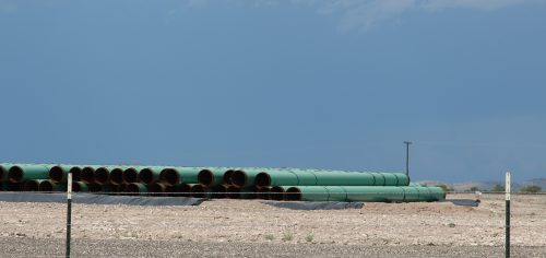 Pipes await deployment near the border with Mexico. The Trans-Pecos Pipeline is being paid for by Mexico's Federal Electricity Commission which wants natural gas from Texas to wean Mexican power plants off of coal. The pipeline will run across private, largely untouched ranch land. (Lorne Matalon)