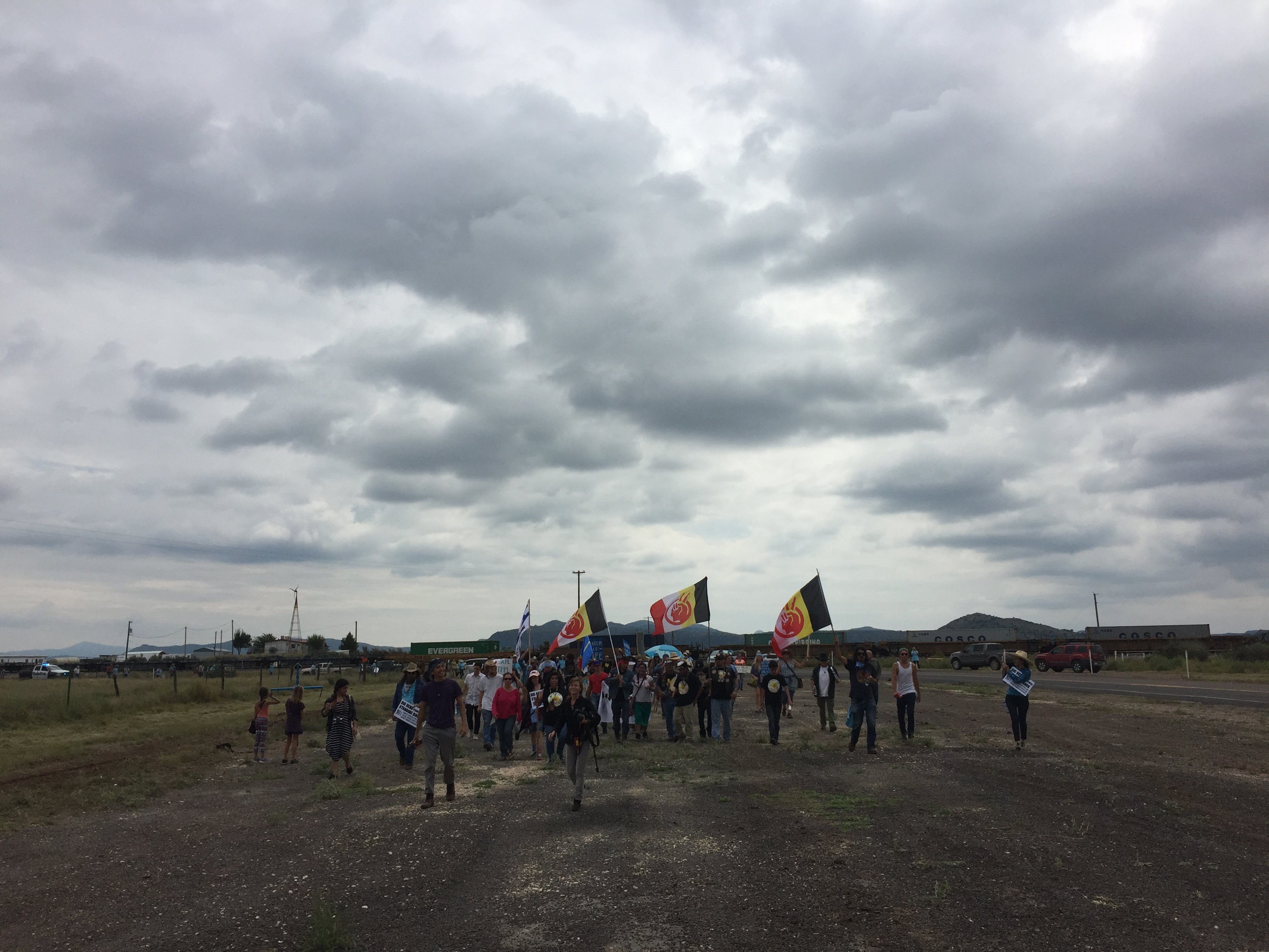 Protesters march to a construction site for the Trans-Pecos Pipeline in Alpine. (Travis Bubenik/KRTS)