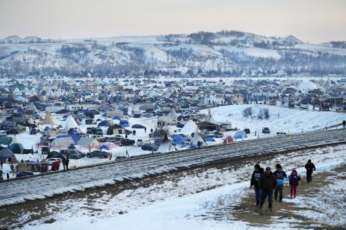 A view of the Oceti Sakowin camp, north of the Cannonball River, where people have gathered to protest the Dakota Access Pipeline.