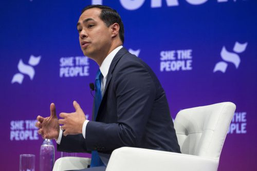 Julián Castro speaks at the She the People forum for 2020 Democratic presidential candidates at Texas Southern University last month. (Gabriel C. Pérez / KUT)